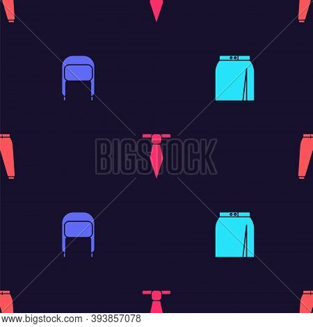 Set Skirt, Winter Hat With Ear Flaps, Tie And Sport Pants On Seamless Pattern. Vector