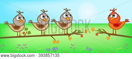 Cute Birds Sitting On Tree Branch. Think Different, Think Outside The Box. Being Different, Standing