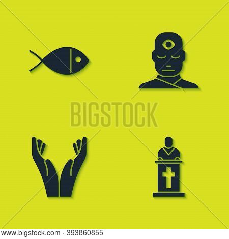 Set Christian Fish, Church Pastor Preaching, Hands Praying Position And Man With Third Eye Icon. Vec