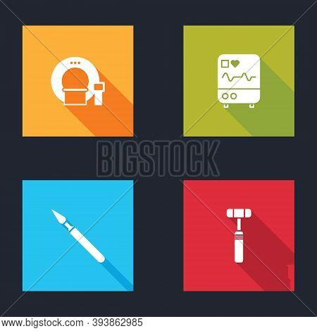 Set Tomography, Monitor With Cardiogram, Medical Surgery Scalpel And Neurology Reflex Hammer Icon. V
