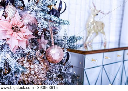 Festive Christmas Wallpaper With Christmas Ball Tree And Holiday Decoration. Bright Greeting Card Ch