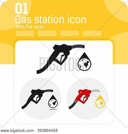 Icon Of Fuel Dispenser And Drop Of Oil With Globe Inside With Flat Style Isolated On White Backgroun