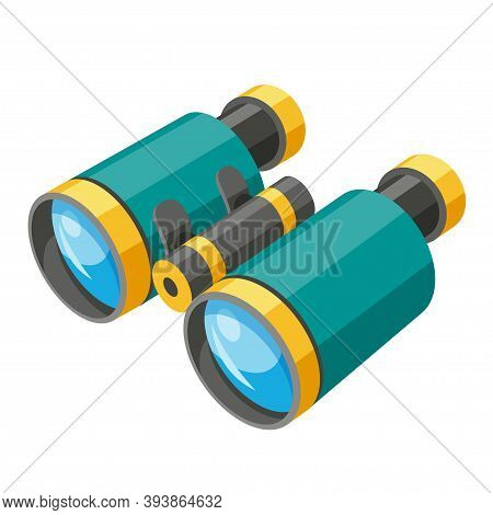 Binoculars Isometric Icon. Field Or Opera Glasses. Double Telescope Magnifying Distant Objects.