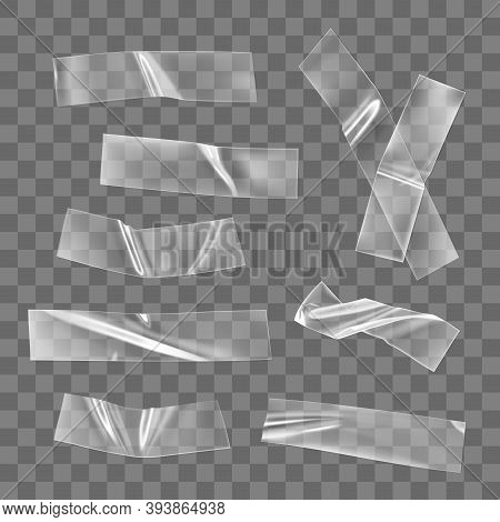 Transparent Adhesive Plastic Tape Pieces And Cross For Fixing Isolated On Transparent Background. Cr