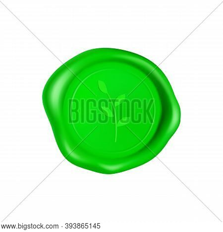 Green Wax Seal With Branch. Wax Seal Stamp Isolated On White Background. Realistic Guaranteed Green