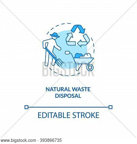 Natural Waste Disposal Turquoise Concept Icon. Farmer Collect Compost. Dairy Industry And Cheese Pro