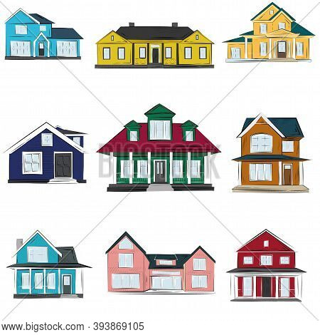 Houses Vector Illustration, Front View Exterior Sketch Illustration Of Homes. Icon Or Web Site Of Re