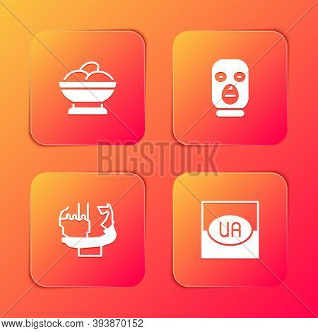 Set Varenyky In A Bowl, Thief Mask, Monument To Founders Of Kiev And Flag Ukraine Icon. Vector