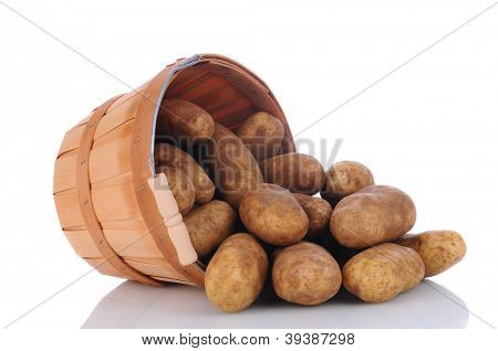 A basket full of russet potatoes on its side spilling onto a white surface with reflection.