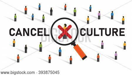 Cancel Culture Community Judgement Discrimination Boycotting Censor In Politics By Crowd Cross Silen