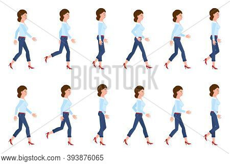 Young, Adult Woman In Jeans Walking Sequence Poses Vector Illustration. Moving Forward, Fast, Slow G