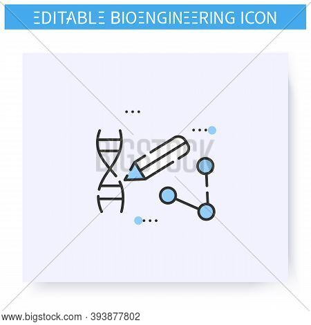 Prime Dna Editing Line Icon. Genome, Dna Modification. Genetic Engineering.biomedical Engineering, N