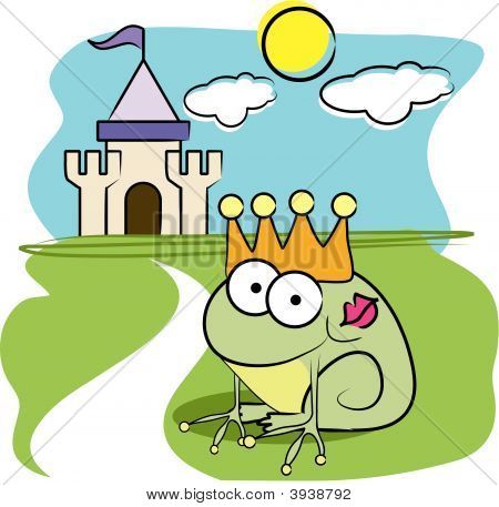 Vector cartoon animal design: frog prince with crown