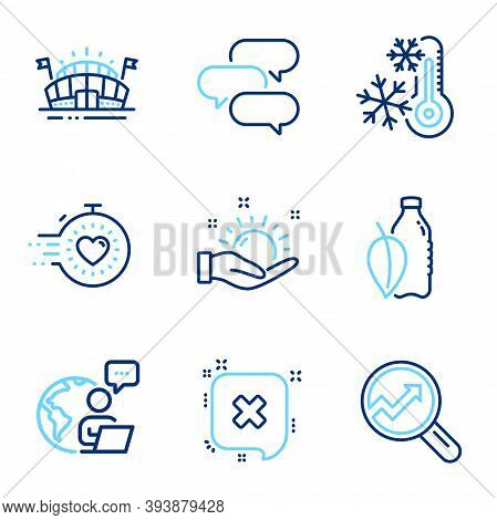 Business Icons Set. Included Icon As Timer, Water Bottle, Freezing Signs. Sports Arena, Reject, Talk