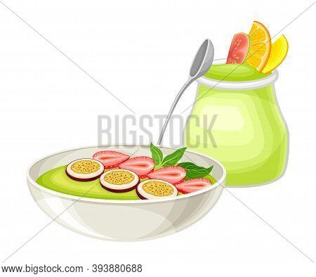 Green Yoghurt In Jar And Bowl With Matcha Dessert Vector Illustration