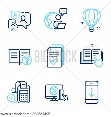 Technology Icons Set. Included Icon As Support Chat, Handout, Online Shopping Signs. Scroll Down, Te