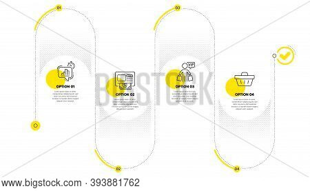 Atm, Vip Shopping And Statistics Timer Line Icons Set. Timeline Process Infograph. Shopping Basket S