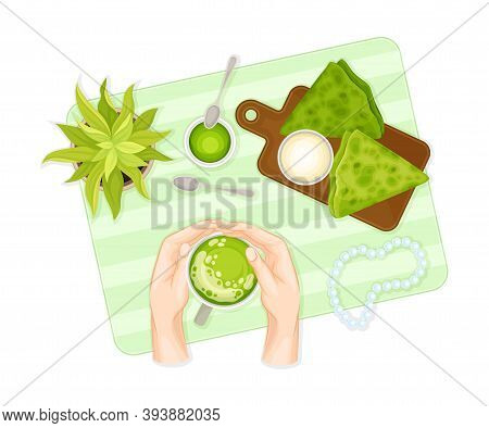 Battercake On Wooden Board And Human Hands Holding Cup With Green Matcha Tea Vector Illustration