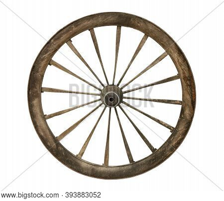 Old Wooden Wagon Wheel (with Clipping Path) Isolated On White Background