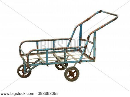 Old Trolley Rusty And Dirty (with Clipping Path) Isolated On White Background