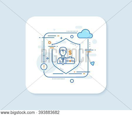 Businessman With Case Line Icon. Abstract Vector Button. Diplomat With Dollar Sign. Businessman Case