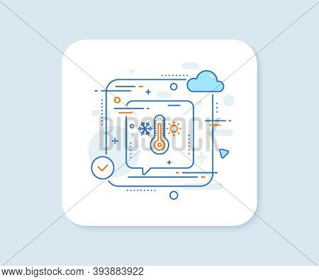 Thermometer Line Icon. Abstract Vector Button. Cold And Warm Thermostat Sign. Winter, Summer Symbol.