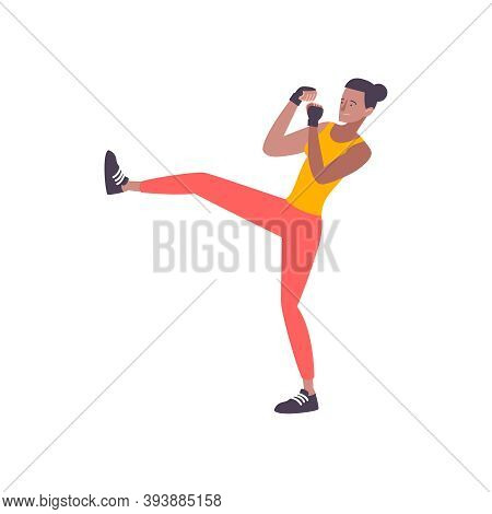 Self Defense Flat Composition With Isolated Human Character Of Man Practicing Leg Kicks Vector Illus