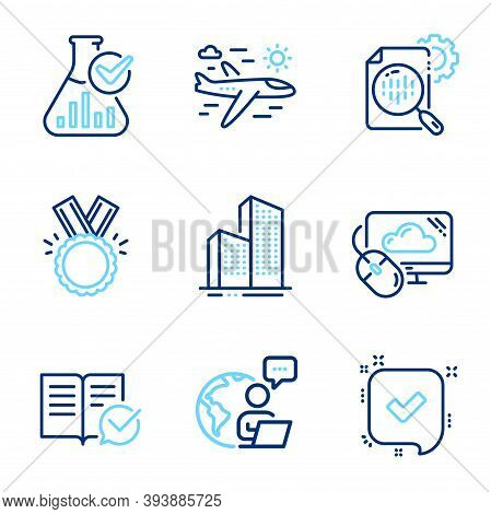 Business Icons Set. Included Icon As Seo Stats, Honor, Approved Documentation Signs. Cloud Computing