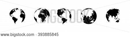 Earth Globe Collection. Earth Vector Icons. World Map In Flat Design. Earth Globes, Isolated. World