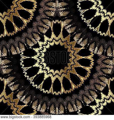 Tiled Floral Textured Gold Mandalas Vector Seamless Pattern. Tapestry Deco Background. Decorative Em