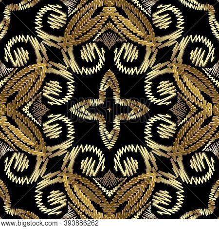 Tapestry Floral Baroque Vector Seamless Mandala Pattern. Ornamental Gold Textured Background. Decora