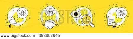 Pet Shelter, Dog Competition And Pets Care Line Icons Set. Megaphone, Licence And Deal Vector Icons.