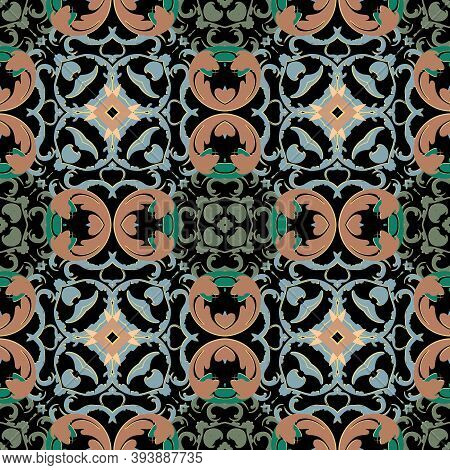 Baroque Vector Seamless Pattern. Ornamental Colorful Damask Background. Royal Victorian Style Baroqu