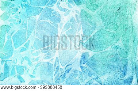 Bright Turquoise Watercolor Background With Blue And Greenish Splashes Of Color With Lighter Streaks