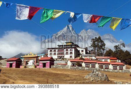 Tengboche Monastery With Prayer Flags, The Best Monastery In Khumbu Valley, Trek To Everest Base Cam
