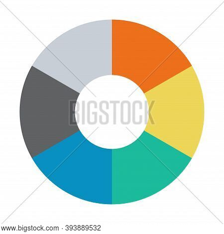 Infographic Pie Chart. Cycle Presentation Diagram 6 Section. Vector Isolated On White Background