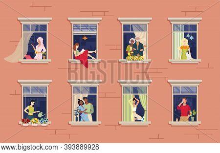 Neighbors In Window. Neighborhood Relationship Communication.various Aspects Of The Neighbors Seen T