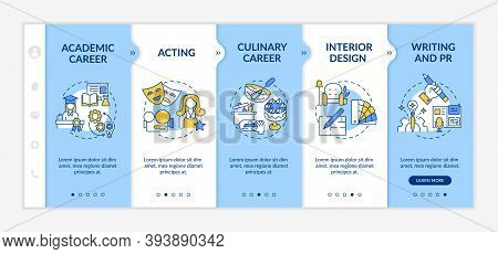Top Careers For Creative Thinkers Onboarding Vector Template. Culinary Career. Interior Design Creat