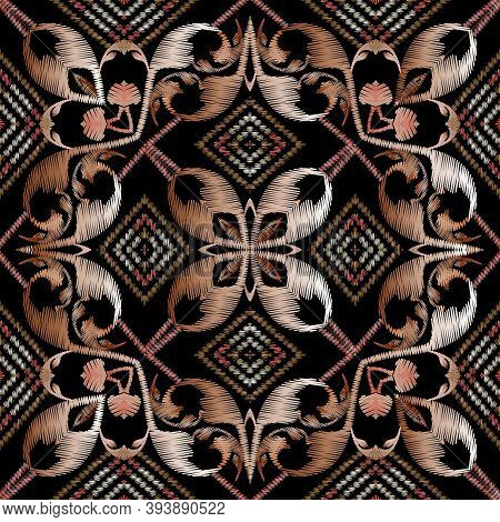 Baroque Embroidery Striped Seamless Pattern. Floral Vector Tapestry Background. Wallpaper Design. Vi
