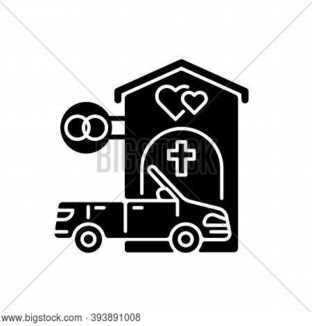 Drive Through Marriage Chapel Black Glyph Icon. Small Church For Wedding. Car For Newlyweds. Marry I