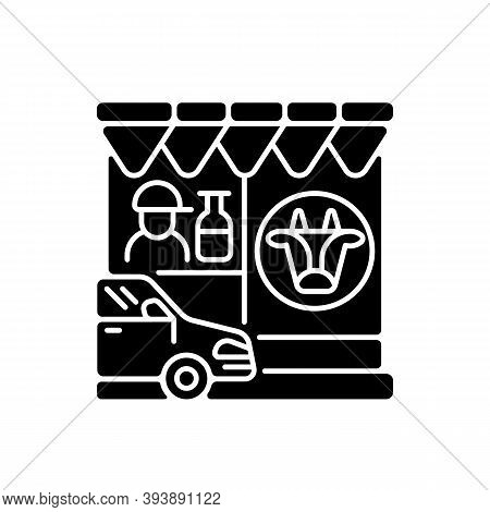 Drive Through Dairy Shop Black Glyph Icon. Milk Supermarket. Convenience Store For Drivers. Transpor
