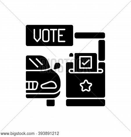 Drive Through Voting Booth Black Glyph Icon. Polling Station. Express Election Service. Driver Voter