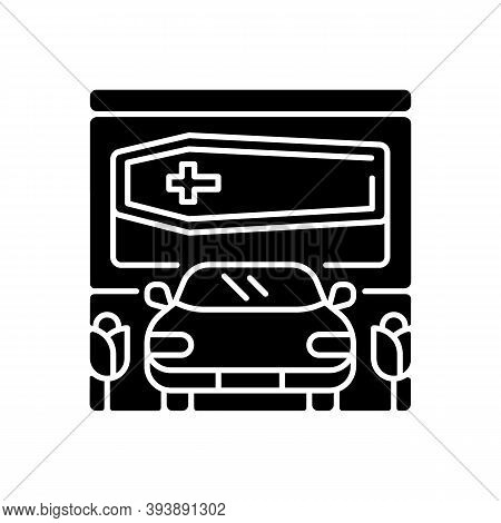 Drive Through Funeral Home Black Glyph Icon. Bury Coffin. Ritual Transportation. Memorial Ceremony O