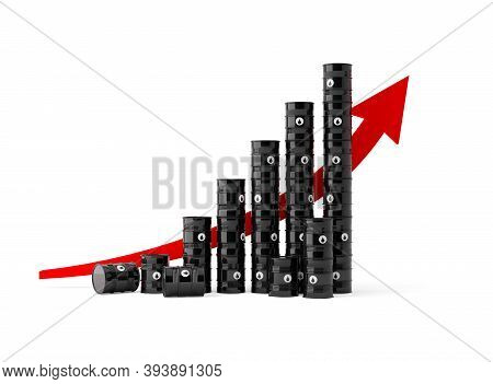 Black Oil Or Fuel Barrels With Red Rising Stock Chart Curve, Oil Price Growth Concept, 3d Illustrati