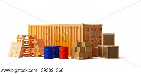 Shipping Container, Pallets, Wooden Crates, Barrels And Cardboard Boxes Compilation Over White Backg