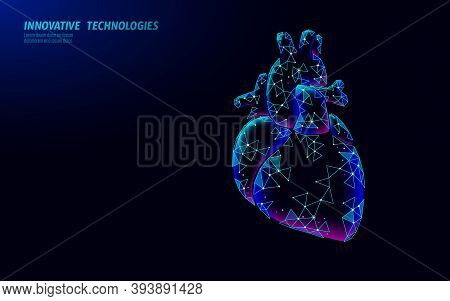 Healthy Heart Beats 3d Medicine Low Poly Concept. Triangle Red Pharmacy Drugstore Background. Glowin