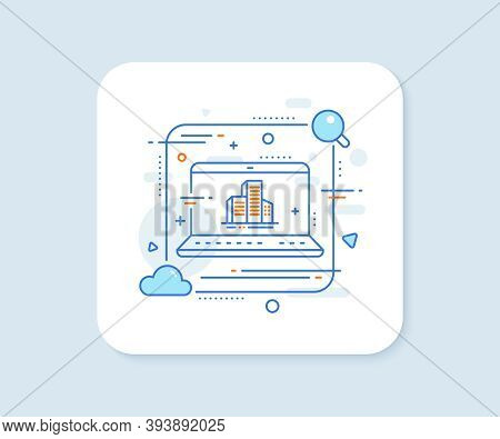 Buildings Line Icon. Abstract Vector Button. City Architecture Sign. Skyscraper Building Symbol. Bui