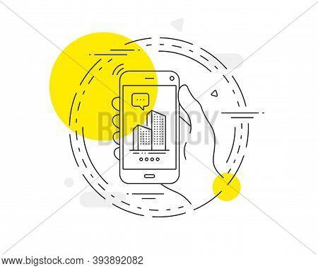 Skyscraper Buildings Line Icon. Mobile Phone Vector Button. City Architecture Sign. Town Symbol. Sky