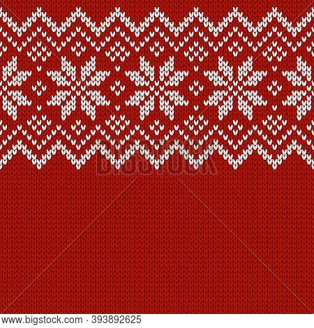 Winter Knitted Wool Sweater Pattern With Snowflakes And Place For Text.