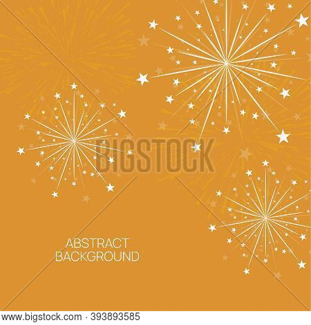 Vector Firework Design On Orange Background With Scattered Stars And Sparkles. Bright Festive Decora